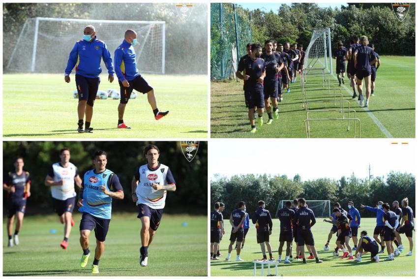 U.S. Lecce, primo allenamento di gruppo per i giocatori in attesa della ripartenza della Serie A