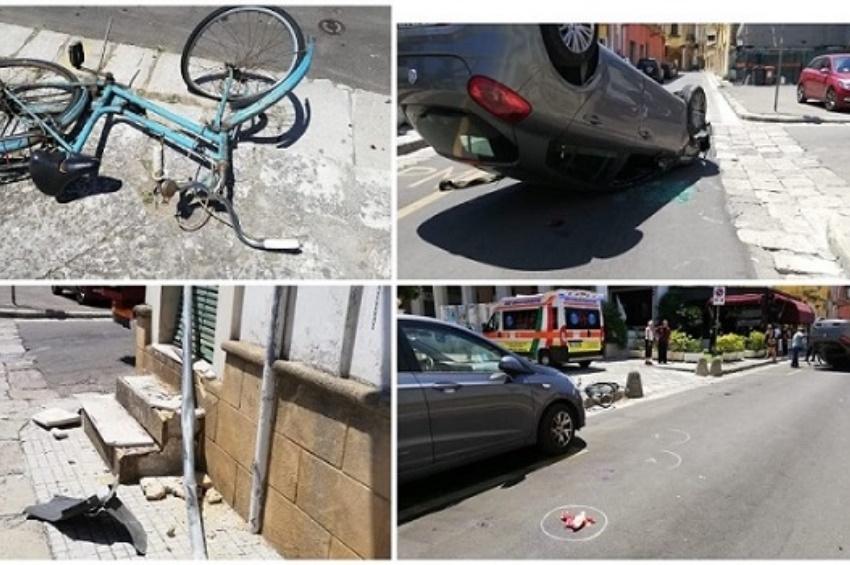 Tre feriti nel rocambolesco incidente avvenuto nella centralissima via Matteotti