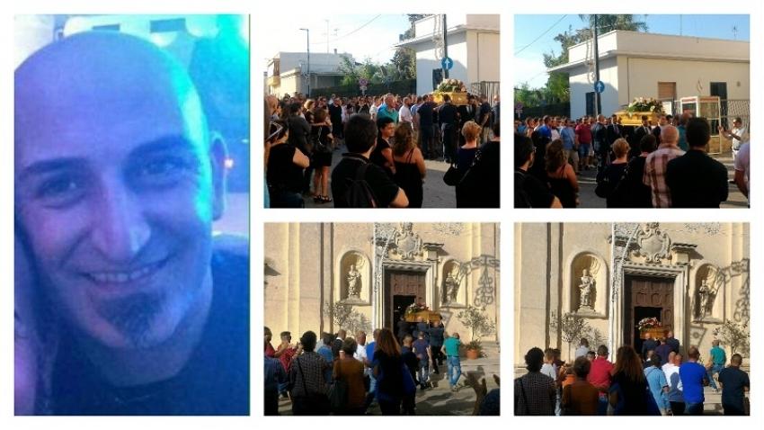 Arnesano, applausi e lacrime: in centinaia per l'ultimo viaggio di Giampiero Sozzo